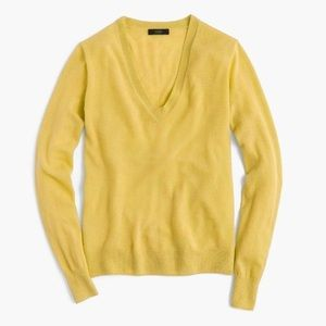 J.Crew Yellow Cashmere Lightweight V-neck Sweater